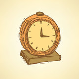 Sketch business clock  in vintage style