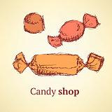 Sketch candies set in vintage style