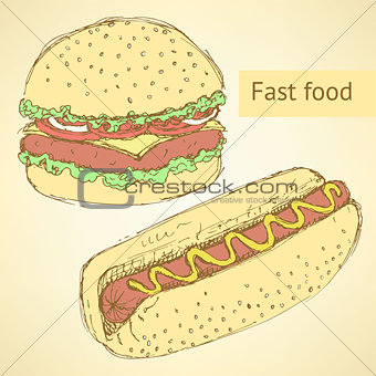 Sketch hot dog and hamburger in vintage style