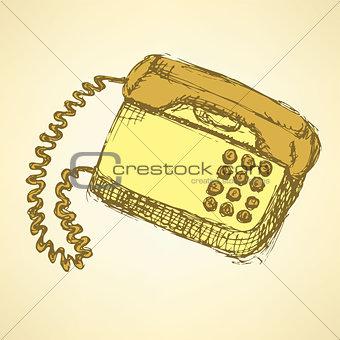 Sketch phone in vintage style