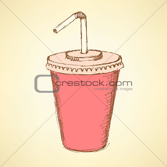 Sketch soda cup in vintage style