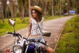 Girl and motorcycle