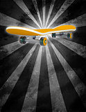 Yellow skateboard on abstract background