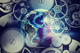 Abstract background with clockwork and globe model