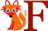 Illustrated alphabet letter F and fox