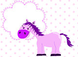 Pink princess horse with blank banner
