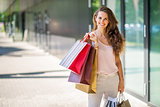 Smiling woman with shopping bags posing with colourful bags