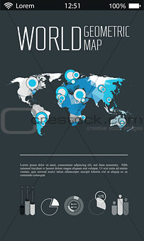 Three dimensional polygonal world map and infographics templates