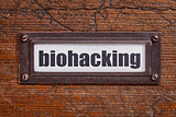 biohackin  tag - file cabinet label