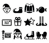 Elf, Christmas vector icons set