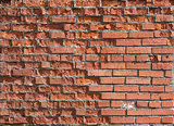 cracked worn red brick wall background