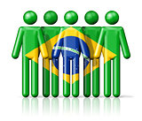 Flag of Brazil on stick figure