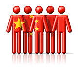 Flag of China on stick figure
