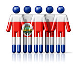 Flag of Costa Rica on stick figure