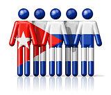 Flag of Cuba on stick figure