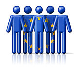 Flag of European union on stick figure