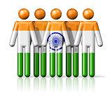 Flag of India on stick figure
