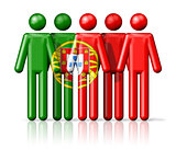 Flag of Portugal on stick figure