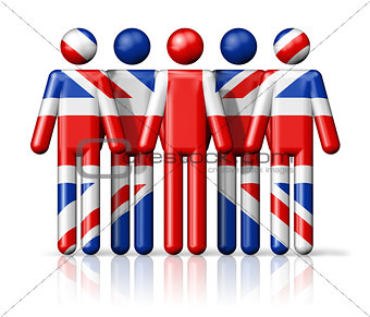 Flag of United Kingdom, UK on stick figure