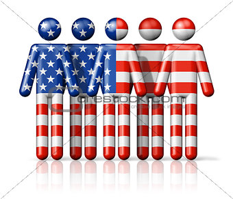 Flag of USA on stick figure