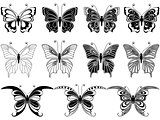 Set of eleven ornamental butterflies