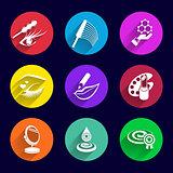 Cosmetics Icons set illustration lipstick brush female mascara