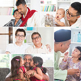 Collage photo of fathers and children