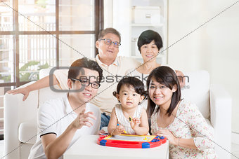 Asian Multi Generation Family Relaxing