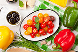 Italian food cooking ingredients. Vegetables, cheese, spices