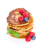 Pancakes with raspberry, blueberry and mint