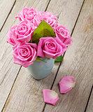 Fresh spring garden pink roses bouquet