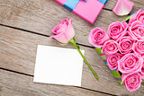 Valentines day greeting card or photo frame and gift box full of