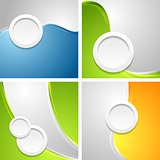 Shiny waves backgrounds with circle shapes