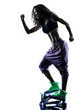 woman Stepper fitness exercises silhouette