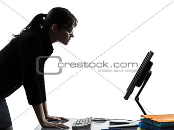 business woman computer computing  serious silhouette