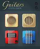 Vector set of guitar icons for music software