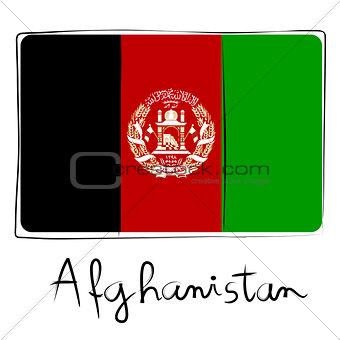 Afganistan flag doodle