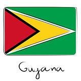 Guyana flag doodle