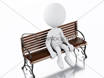 3d white people on a Park Bench
