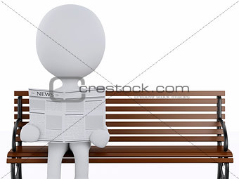 3d white people reading on a wooden bench.