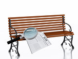 3d Newspapers with magnifying glass. Job search concept