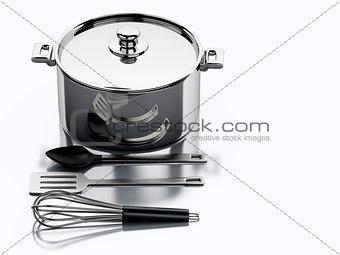 3d Kitchen utensils and metallic pan.