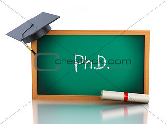 3d blackboard with diploma certificate and graduation cap.