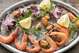 Tray with seafood