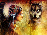 young indian woman wearing  with  wolf and feather headdress, p