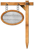 Oval Sign with Frame Chain and Pole