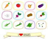 Set of labels with vegetables. Vector illustration.