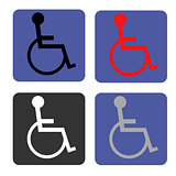 Disabled icon. Human on wheelchair symbol. Handicapped invalid sign.