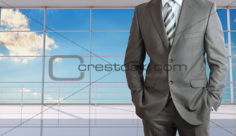 Businessman body in suit without head