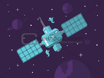 Satellite with Astronauts in Outer Space